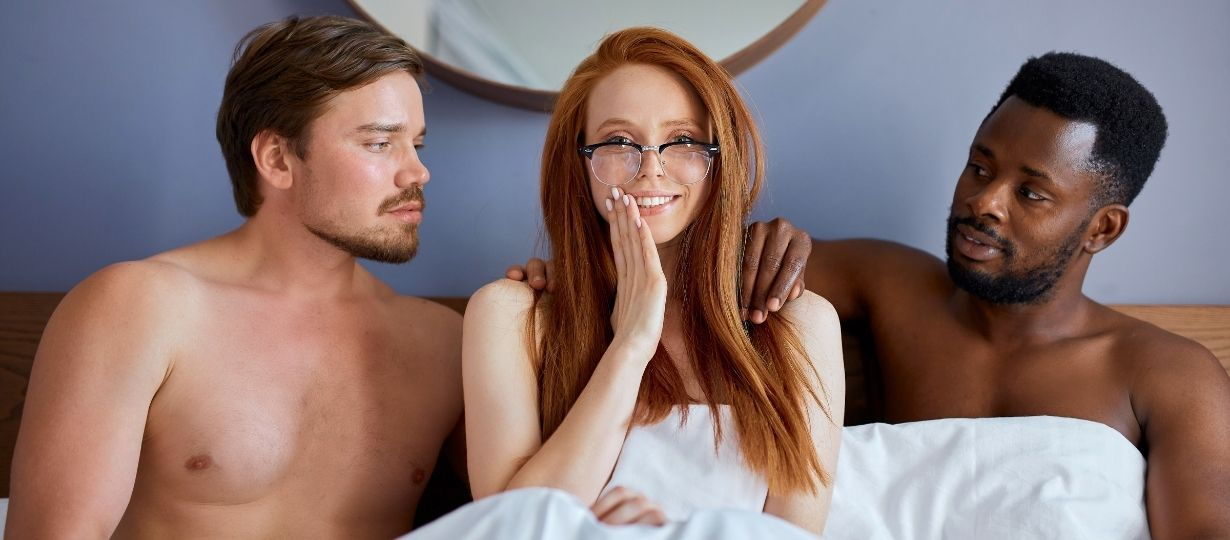 Man, woman and another man in bed having thresome sex. - Truth about sex, fantasies and sex couples relationship