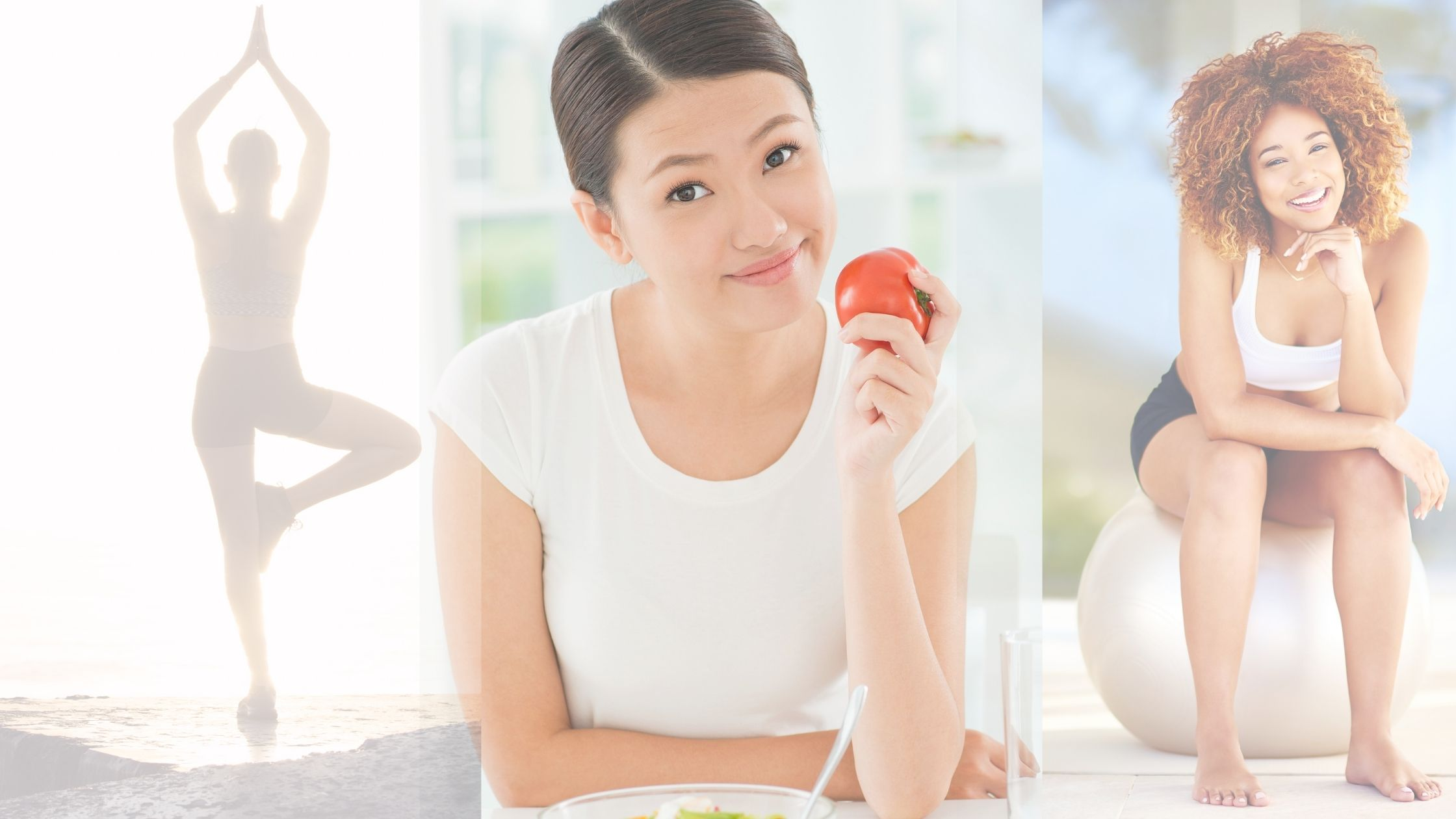Healthy Habits Image - Image of 3 different women practicing healthy habits through meditation, eating, exercising and the like. First woman from the left wearing tight sleeveless sports clothes and shorts on her yoga pose near the sea shore. The woman at the middle is wearing white with eyes opened and smilie while holding a red tomato and eating salad. The third woman on the right wearing white top and black shorts sitting on an exercise ball looks very happy with face smiling and beautifully curly hair.