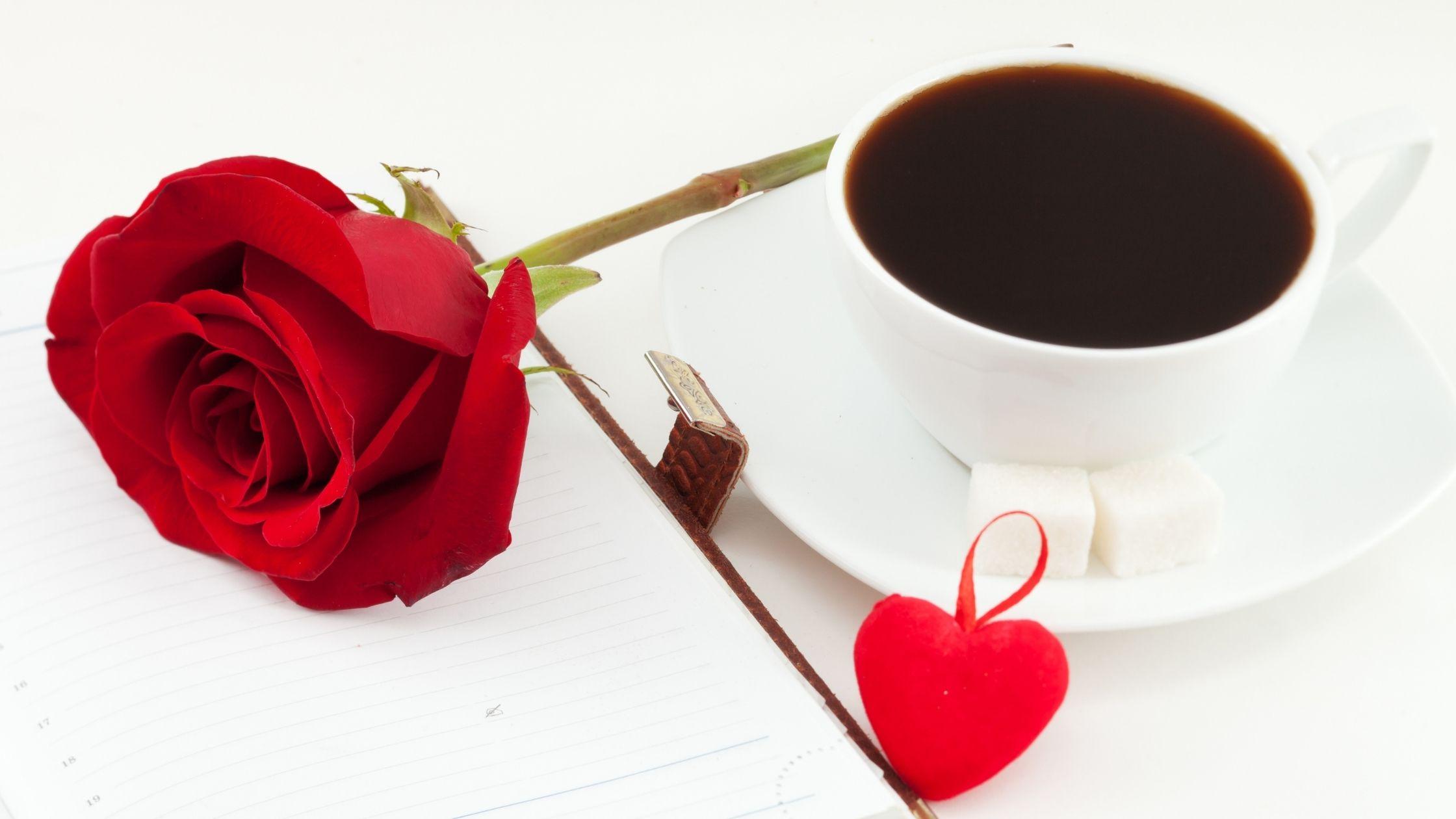 """imagem de um caderno de papel com uma rosa vermelha, um pouco de coração vermelho no lado direito e uma xícara de café, esta imagem pertence ao artigo chamado """"Como desenvolver a disciplina diária na vida"""""""
