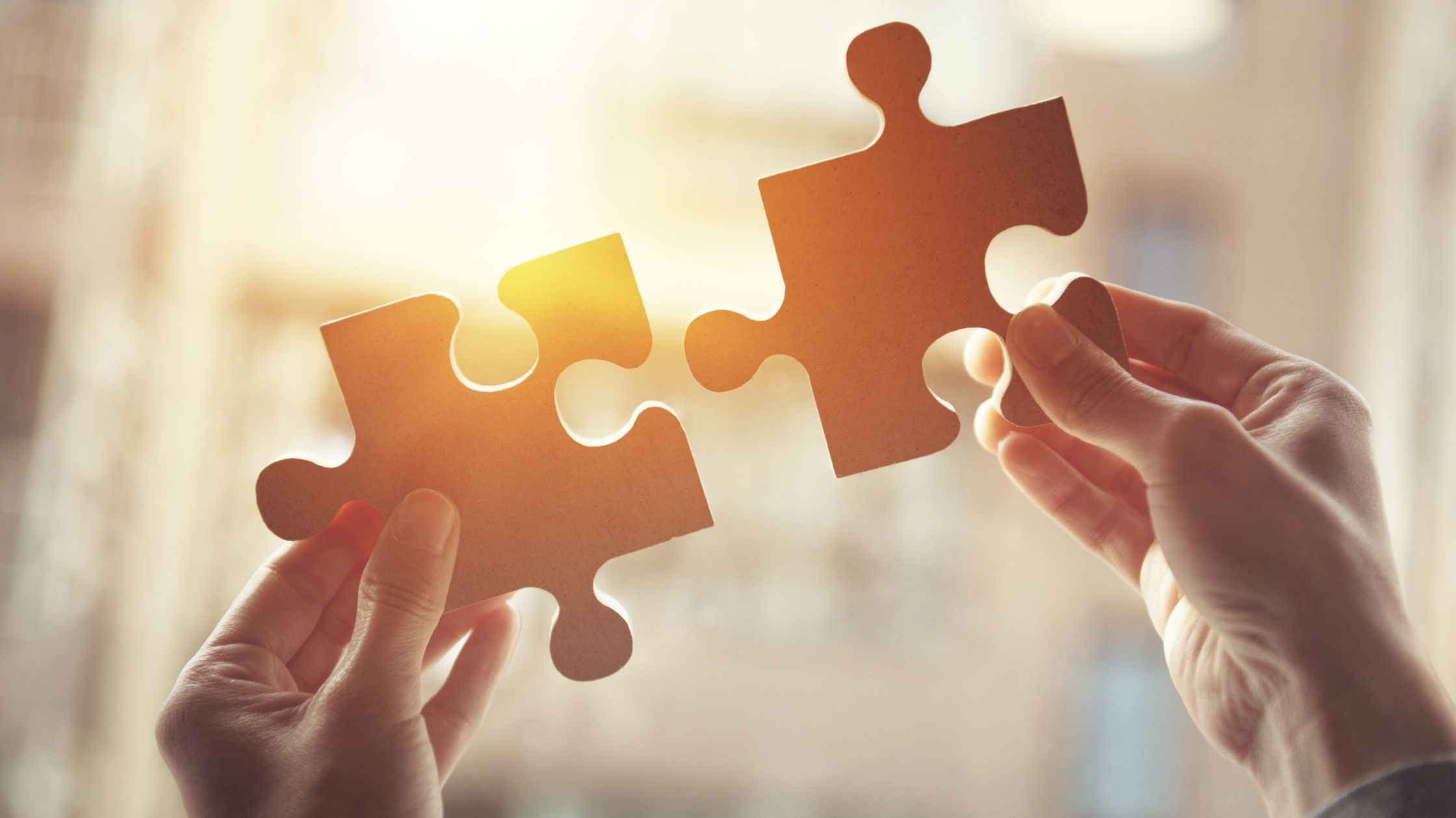 photo shows two hands holding a puzzle piece in each hand approaching the pieces without touching them against the sunlight with a burr background, this image is part of the article named 'what are personal development challenges and how to overcome them'