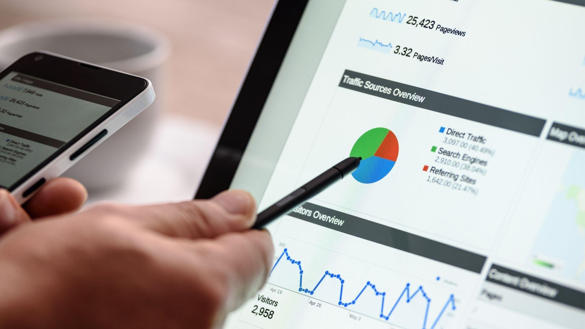 Comment obtenir un trafic ciblé vers votre site Web L'image montre une main tenant un téléphone portable avec du texte illisible à l'écran tandis que l'autre main tenant un stylo de présentation noir pointant vers l'écran de l'ordinateur affichant des textes commerciaux, des graphiques et des tableaux.