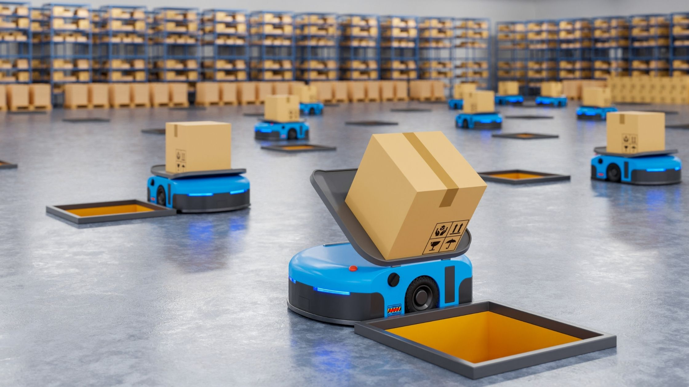 selling with 'Amazon FBA' image show a warehouse in 'Amazon' warehouse where robots select an send the packages in wholes so they will get on the right transportation bands