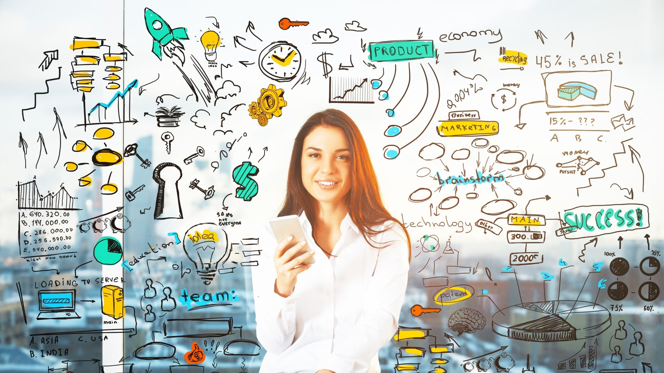 strategies for internet marketing image show a long-hair smiling woman in a white long-sleeve shirt holding a smartphone with her right hand, around her a lot of drawings showing all kinds of internet strategies and business headings, in the background is an image of a blurred city